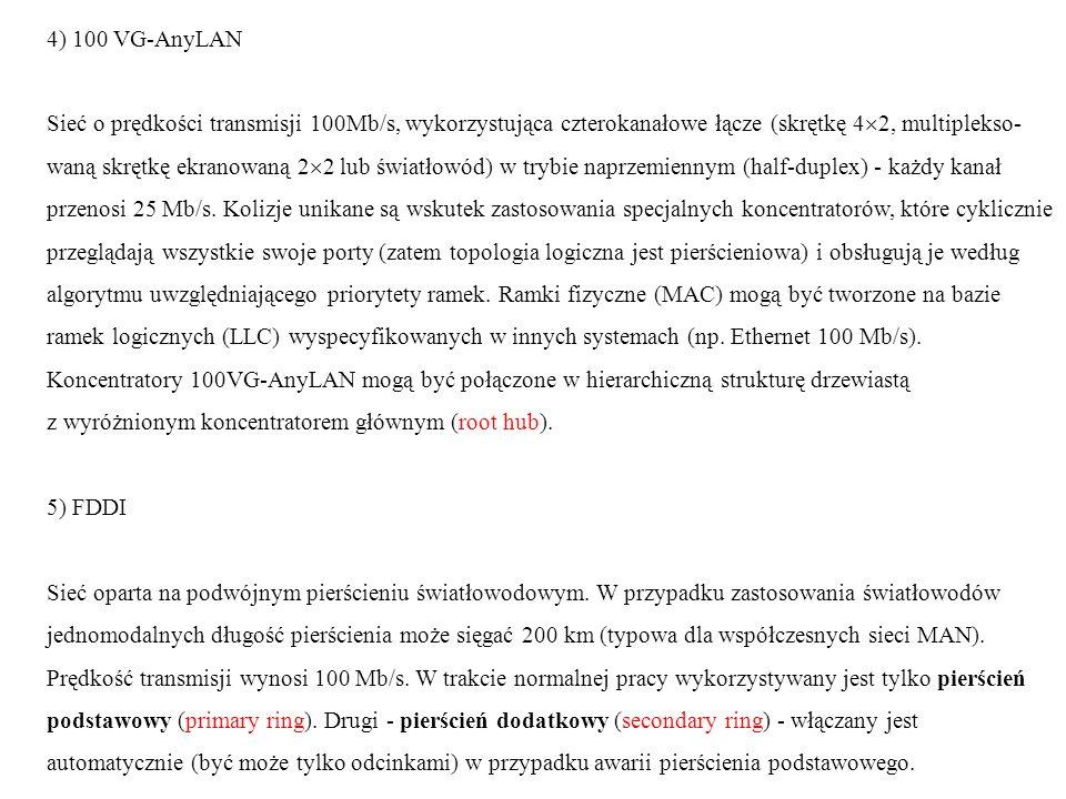 4) 100 VG-AnyLAN Sieć o prędkości transmisji 100Mb/s, wykorzystująca czterokanałowe łącze (skrętkę 42, multiplekso-