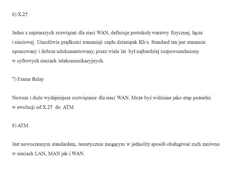 6) X.25 Jedno z najstarszych rozwiązań dla sieci WAN, definiuje protokoły warstwy fizycznej, łącza.