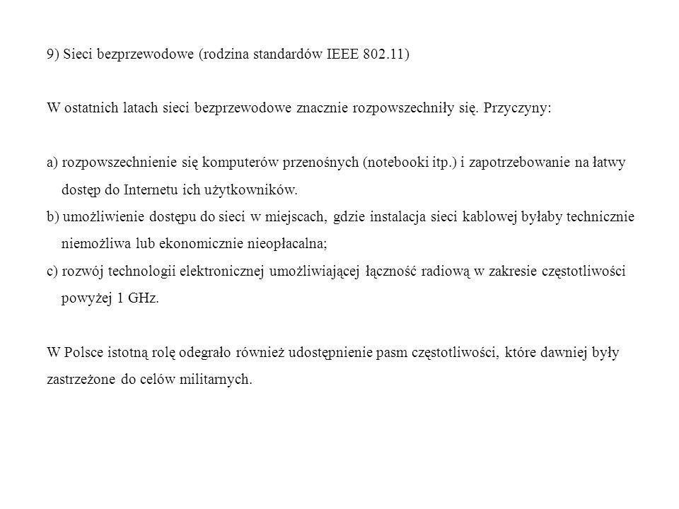 9) Sieci bezprzewodowe (rodzina standardów IEEE 802.11)