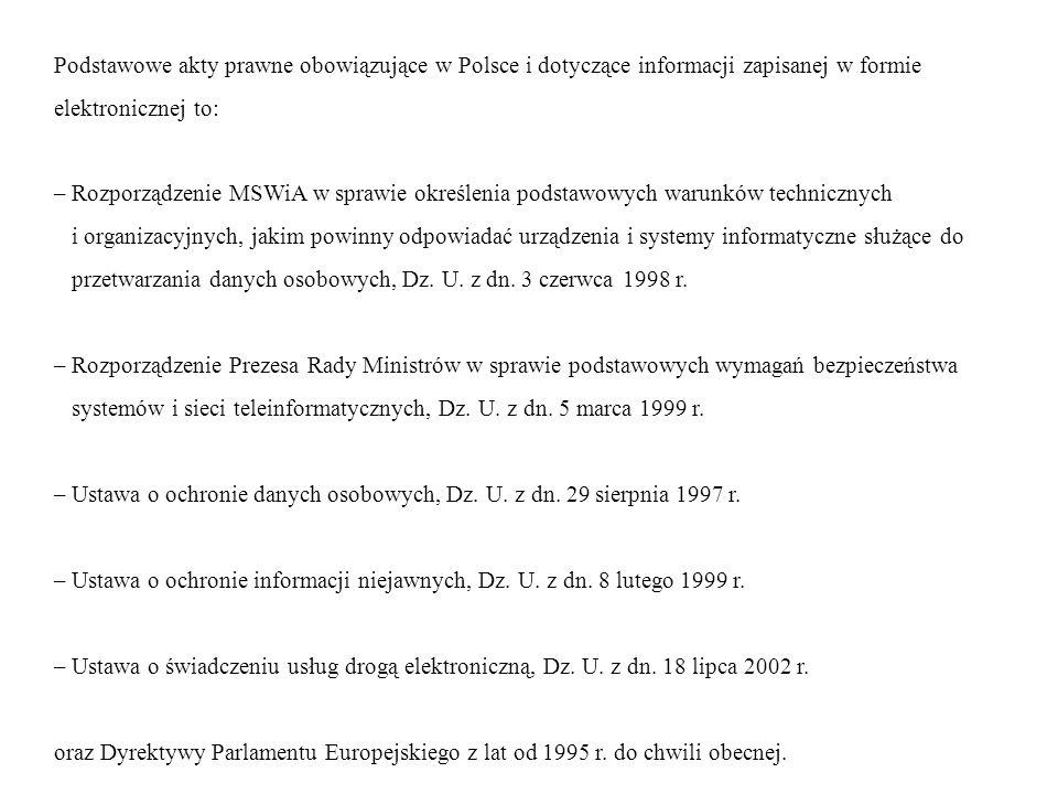 Podstawowe akty prawne obowiązujące w Polsce i dotyczące informacji zapisanej w formie