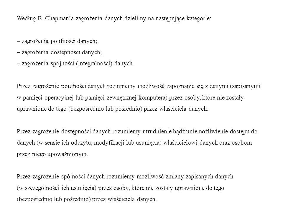 Według B. Chapman'a zagrożenia danych dzielimy na następujące kategorie: