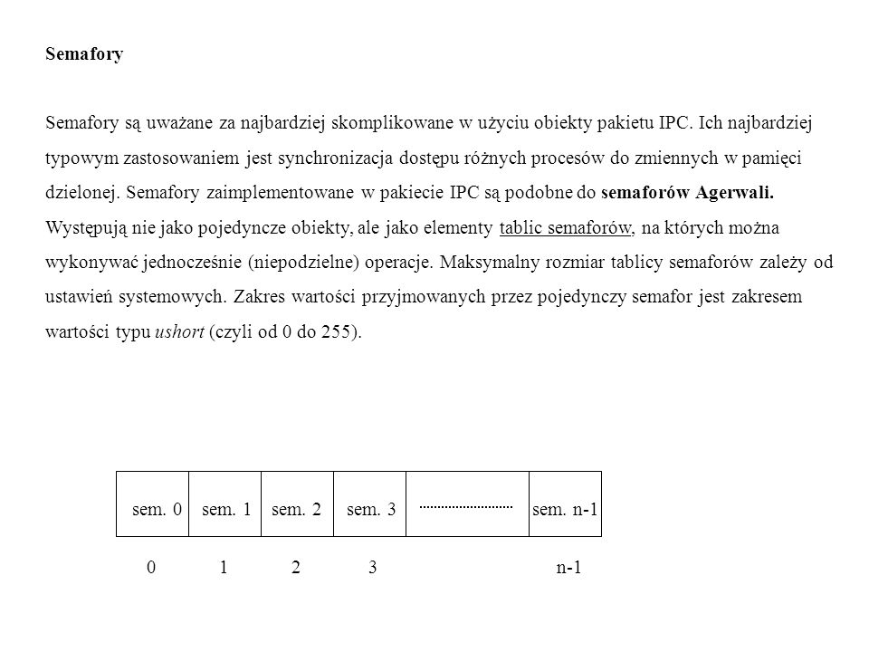 SemaforySemafory są uważane za najbardziej skomplikowane w użyciu obiekty pakietu IPC. Ich najbardziej.