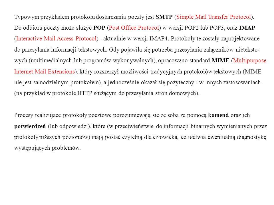 Typowym przykładem protokołu dostarczania poczty jest SMTP (Simple Mail Transfer Protocol).