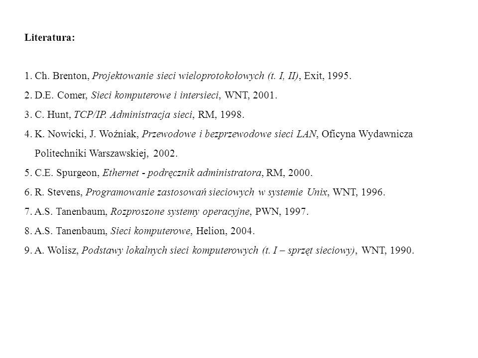 Literatura: 1. Ch. Brenton, Projektowanie sieci wieloprotokołowych (t. I, II), Exit, 1995. 2. D.E. Comer, Sieci komputerowe i intersieci, WNT, 2001.