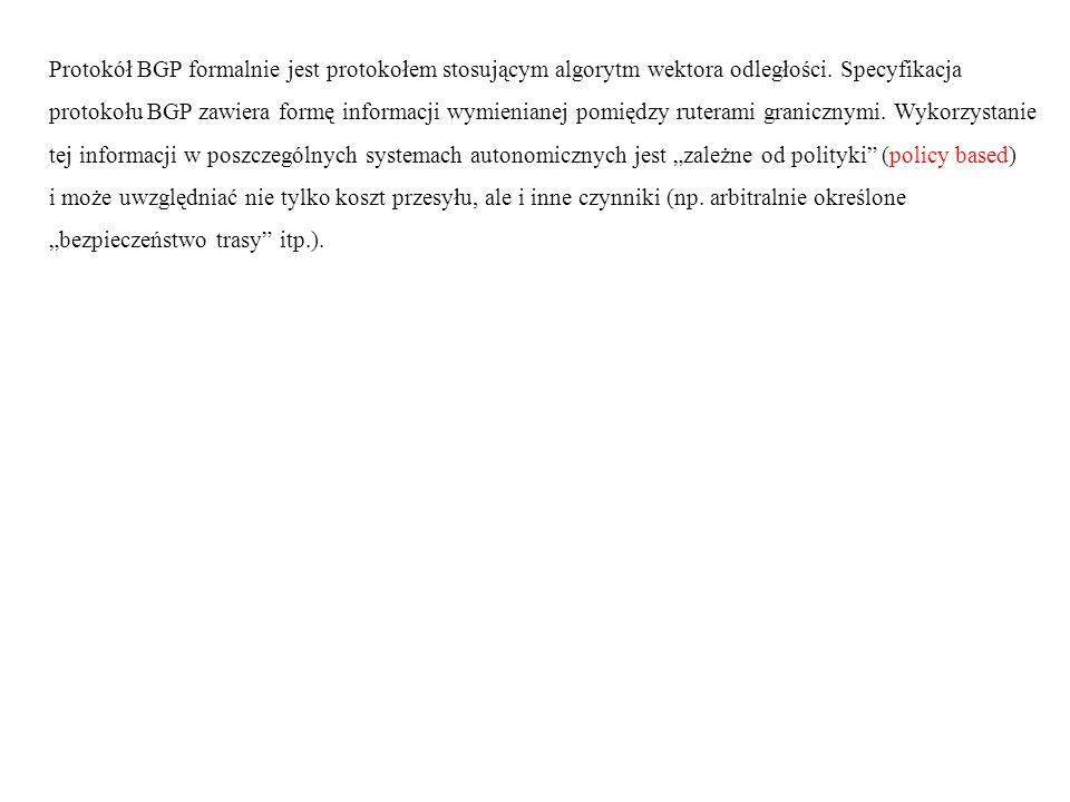 Protokół BGP formalnie jest protokołem stosującym algorytm wektora odległości. Specyfikacja