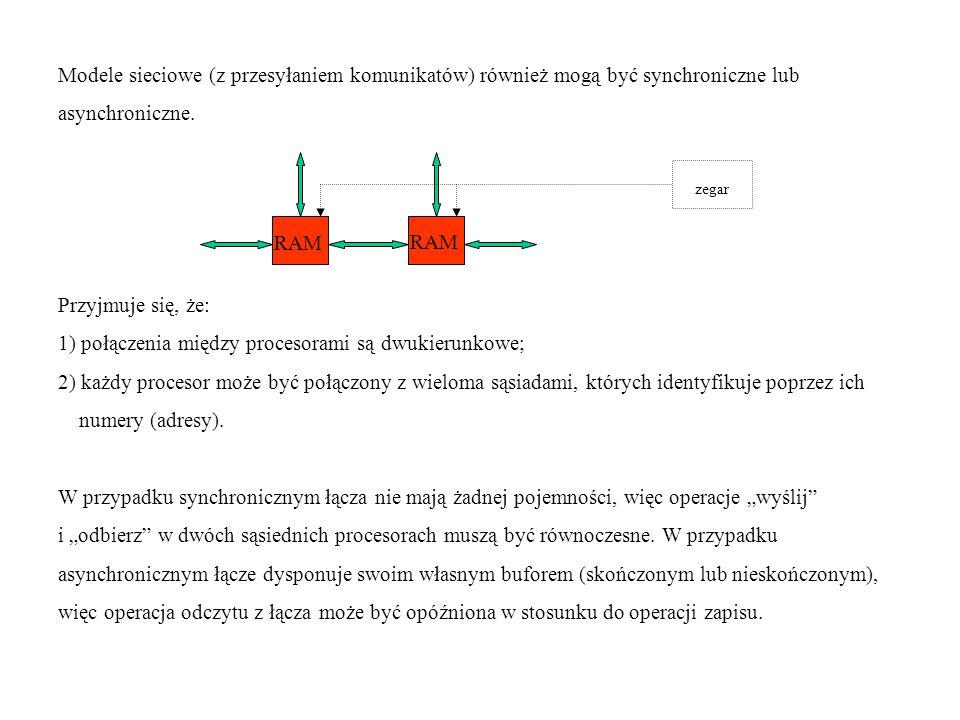 Modele sieciowe (z przesyłaniem komunikatów) również mogą być synchroniczne lub