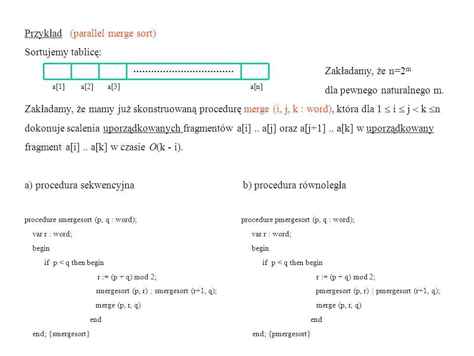 Przykład (parallel merge sort) Sortujemy tablicę: Zakładamy, że n=2m