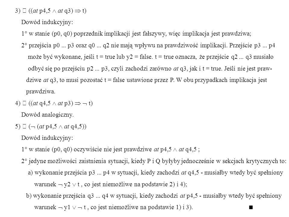 3)  ((at p4,5  at q3)  t) Dowód indukcyjny: 1° w stanie (p0, q0) poprzednik implikacji jest fałszywy, więc implikacja jest prawdziwa;