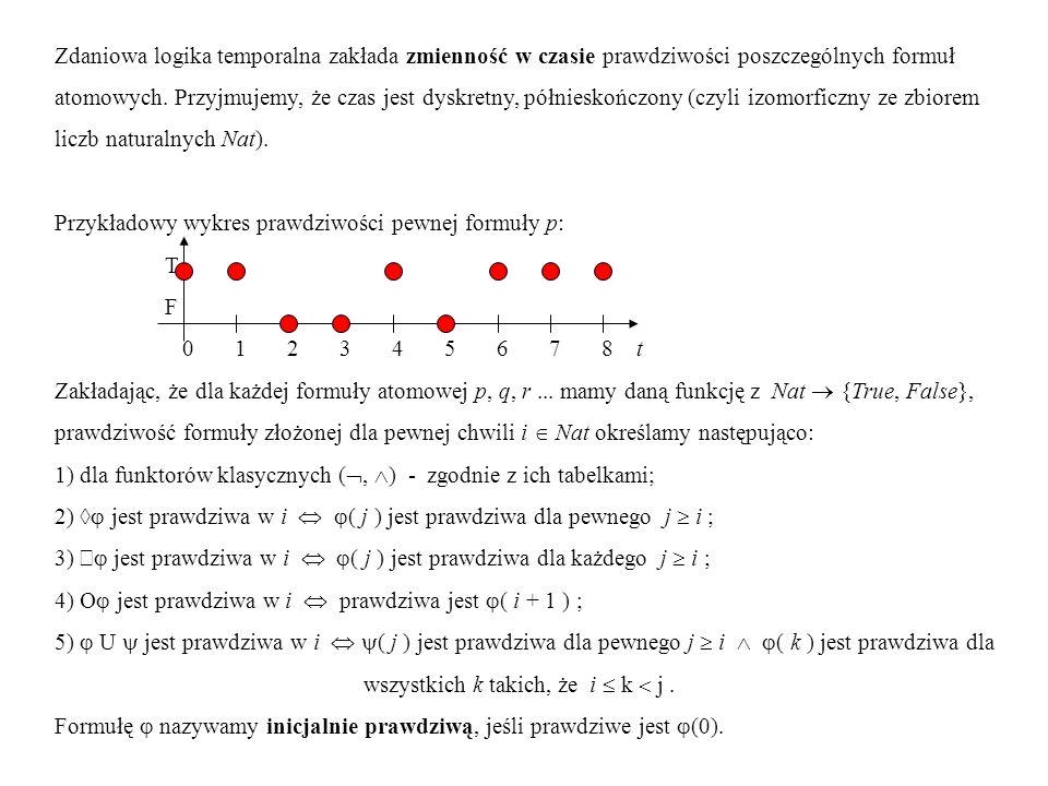 Zdaniowa logika temporalna zakłada zmienność w czasie prawdziwości poszczególnych formuł