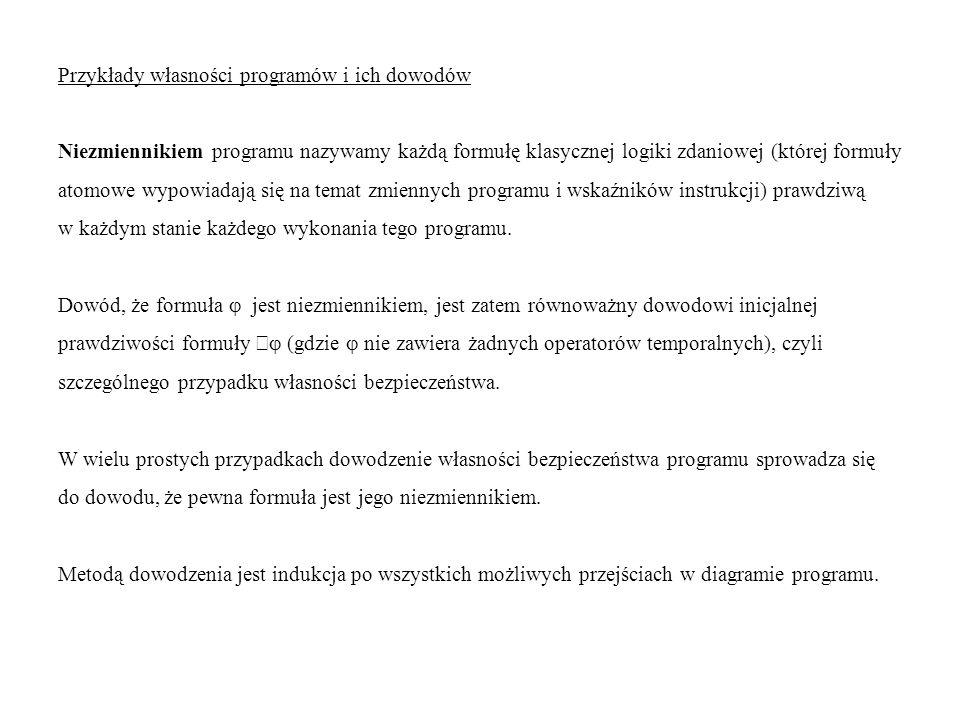 Przykłady własności programów i ich dowodów