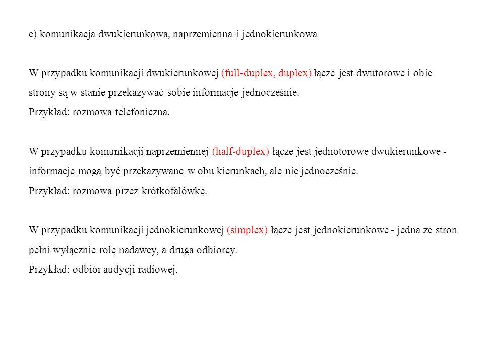 c) komunikacja dwukierunkowa, naprzemienna i jednokierunkowa