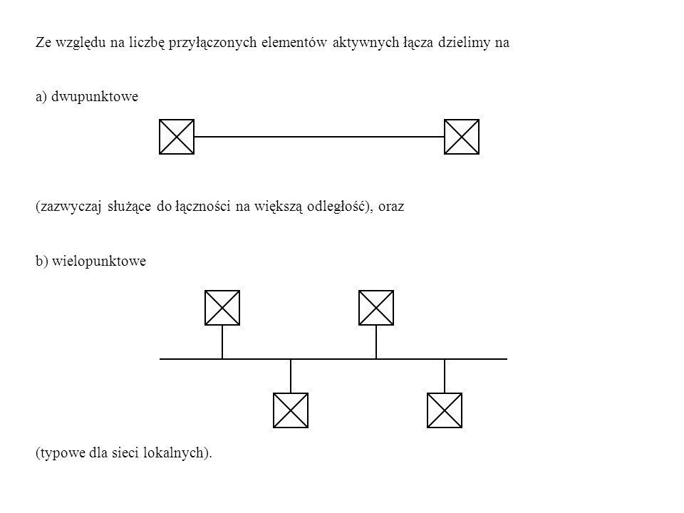 Ze względu na liczbę przyłączonych elementów aktywnych łącza dzielimy na