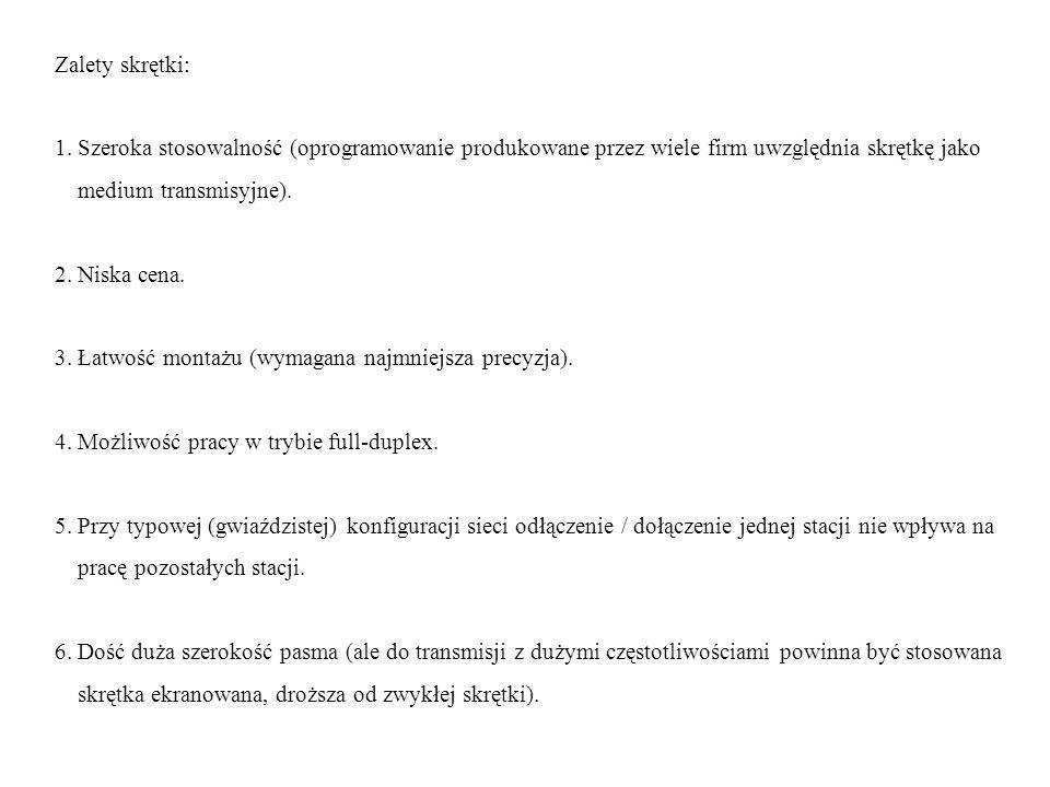 Zalety skrętki: 1. Szeroka stosowalność (oprogramowanie produkowane przez wiele firm uwzględnia skrętkę jako.