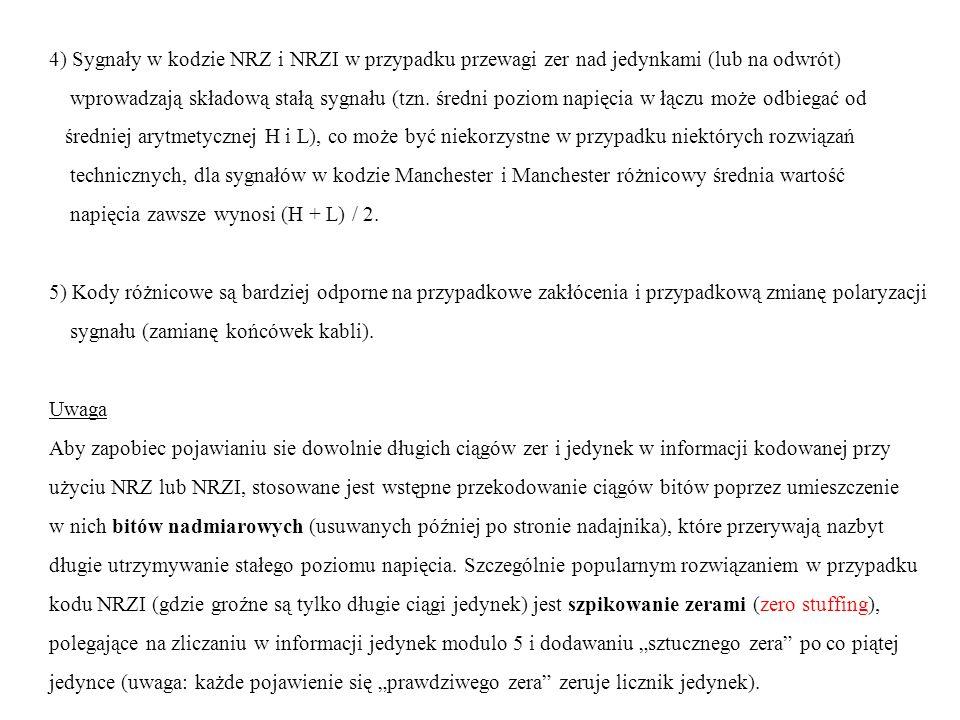 4) Sygnały w kodzie NRZ i NRZI w przypadku przewagi zer nad jedynkami (lub na odwrót)
