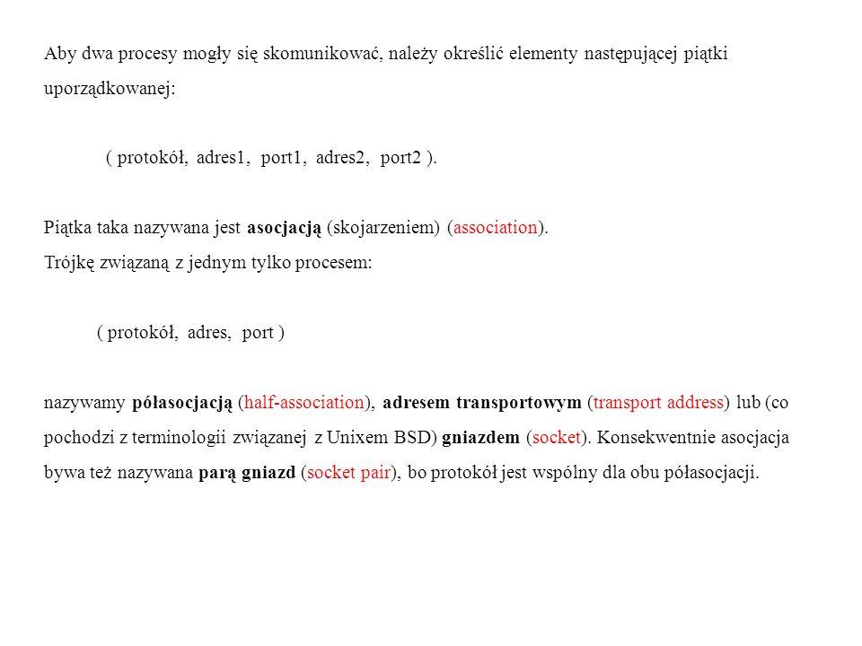 Aby dwa procesy mogły się skomunikować, należy określić elementy następującej piątki