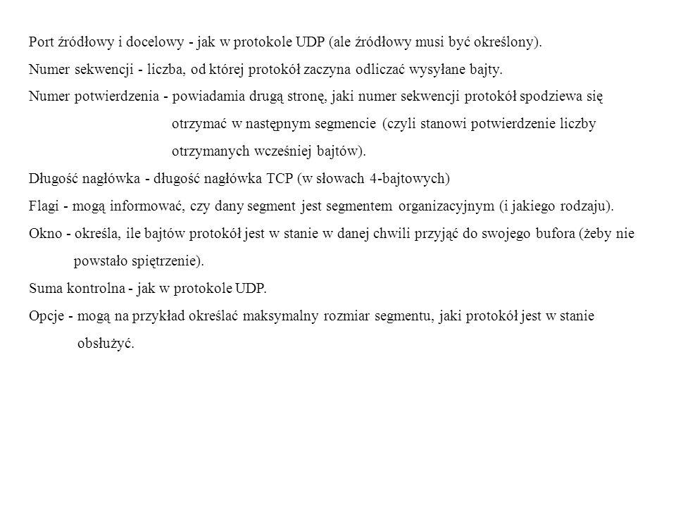 Port źródłowy i docelowy - jak w protokole UDP (ale źródłowy musi być określony).