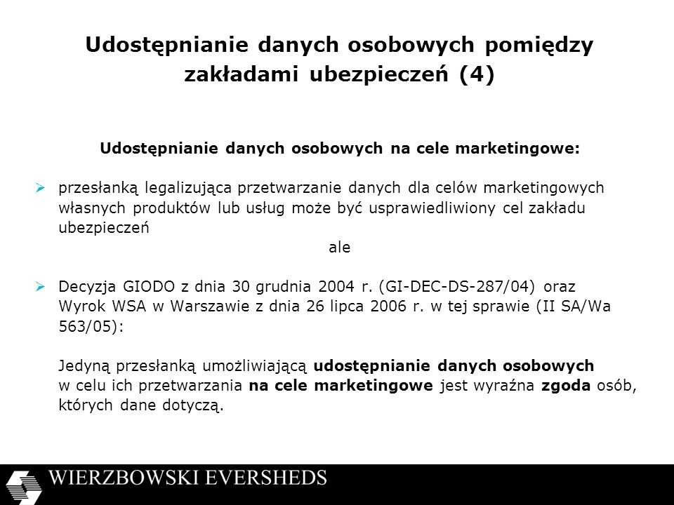 Udostępnianie danych osobowych pomiędzy zakładami ubezpieczeń (4)
