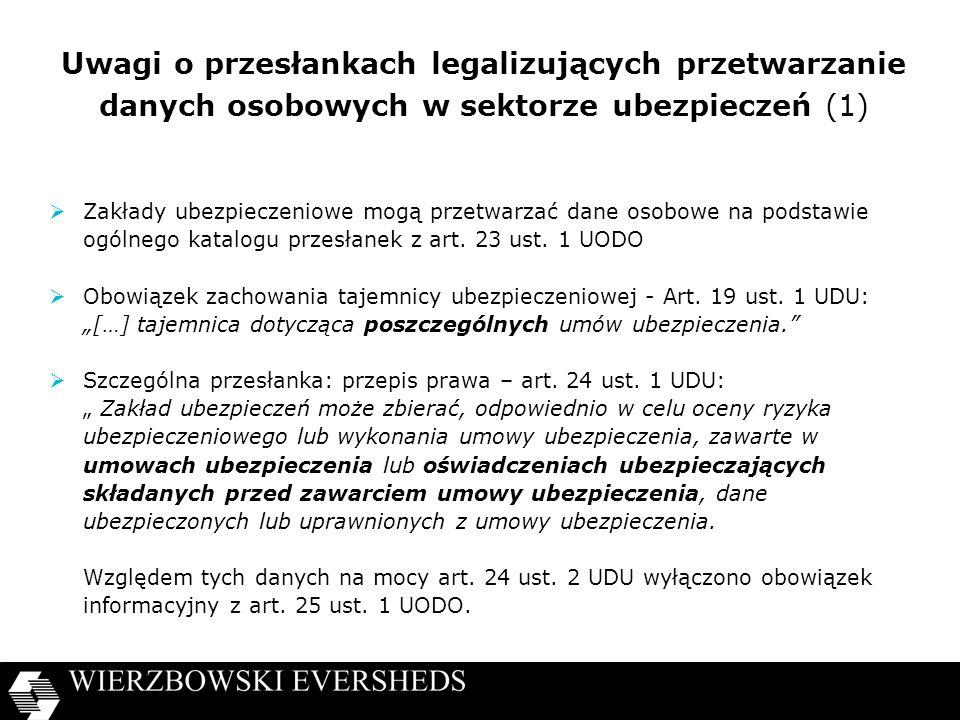 Uwagi o przesłankach legalizujących przetwarzanie danych osobowych w sektorze ubezpieczeń (1)