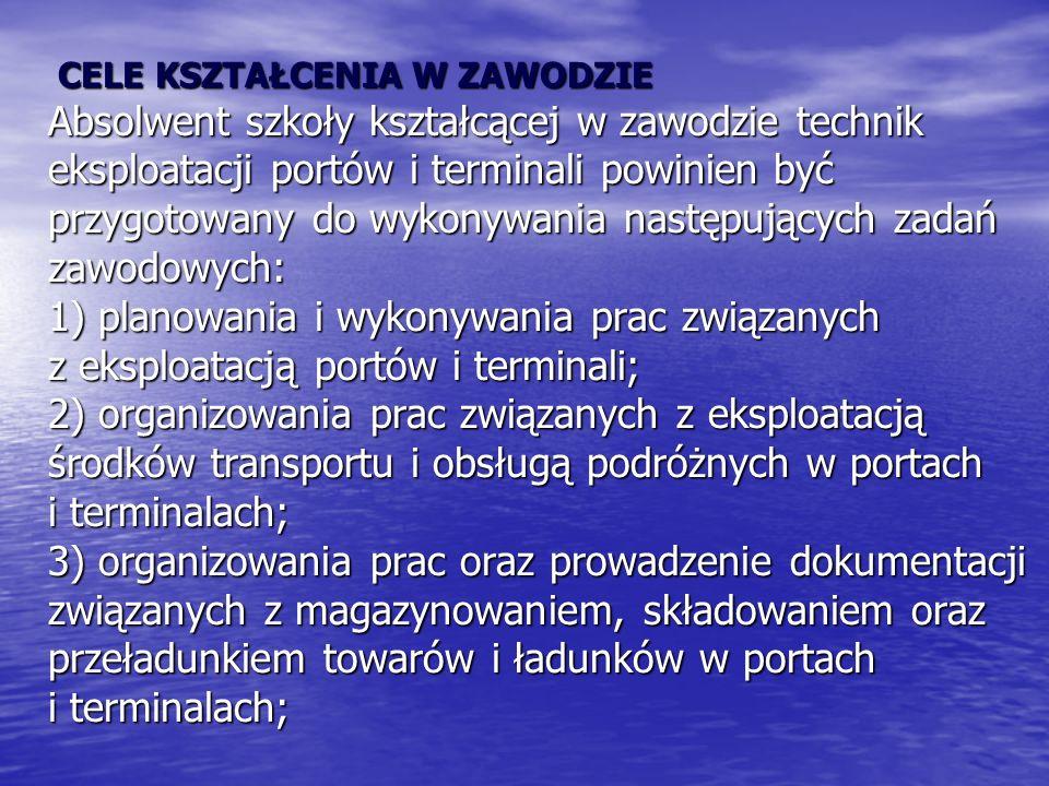 CELE KSZTAŁCENIA W ZAWODZIE Absolwent szkoły kształcącej w zawodzie technik eksploatacji portów i terminali powinien być przygotowany do wykonywania następujących zadań zawodowych: 1) planowania i wykonywania prac związanych z eksploatacją portów i terminali; 2) organizowania prac związanych z eksploatacją środków transportu i obsługą podróżnych w portach i terminalach; 3) organizowania prac oraz prowadzenie dokumentacji związanych z magazynowaniem, składowaniem oraz przeładunkiem towarów i ładunków w portach i terminalach;