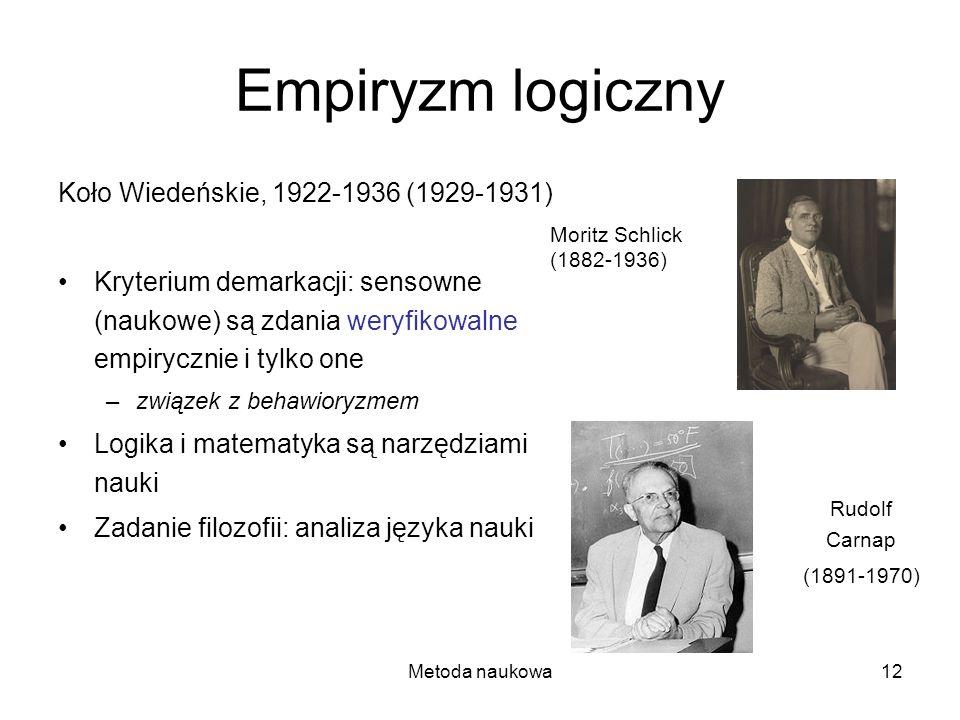 Empiryzm logiczny Koło Wiedeńskie, 1922-1936 (1929-1931)