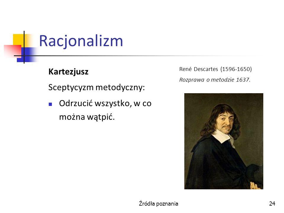 Racjonalizm Kartezjusz Sceptycyzm metodyczny: