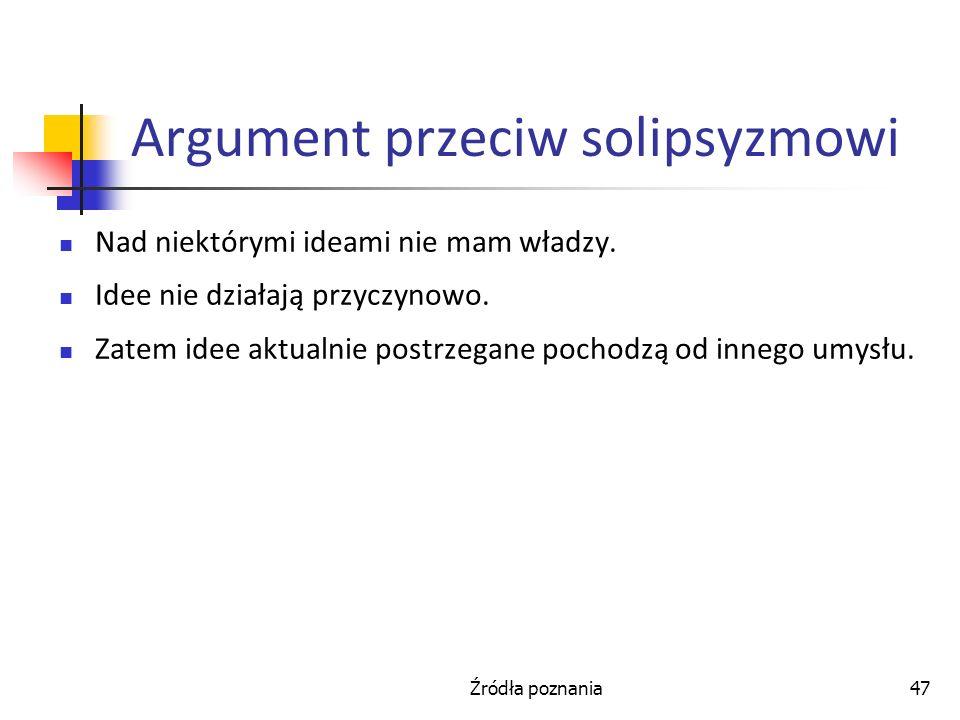 Argument przeciw solipsyzmowi