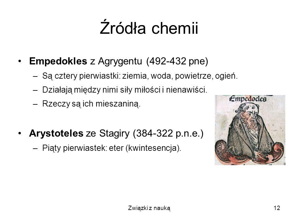 Źródła chemii Empedokles z Agrygentu (492-432 pne)