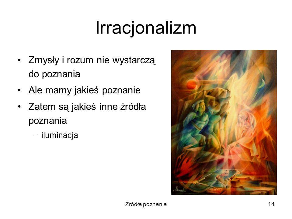Irracjonalizm Zmysły i rozum nie wystarczą do poznania