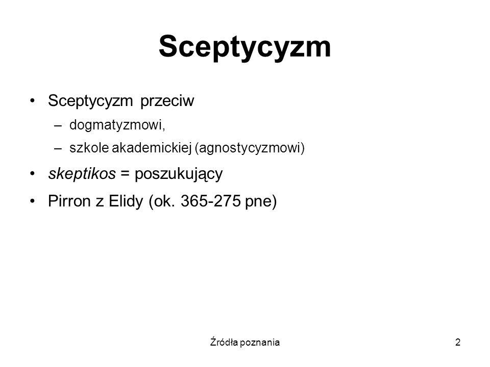 Sceptycyzm Sceptycyzm przeciw skeptikos = poszukujący