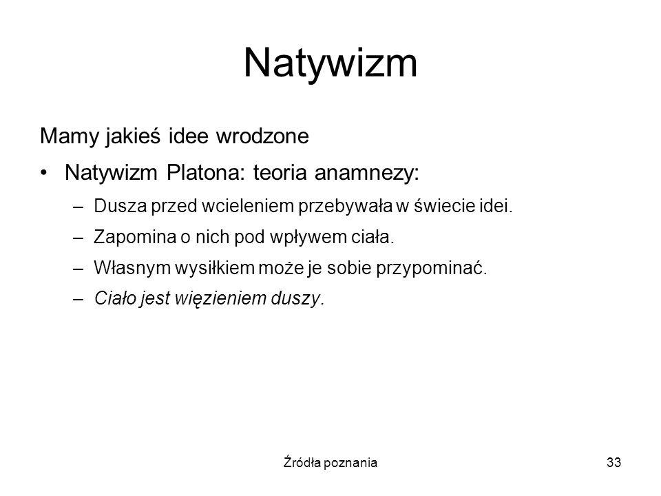 Natywizm Mamy jakieś idee wrodzone Natywizm Platona: teoria anamnezy: