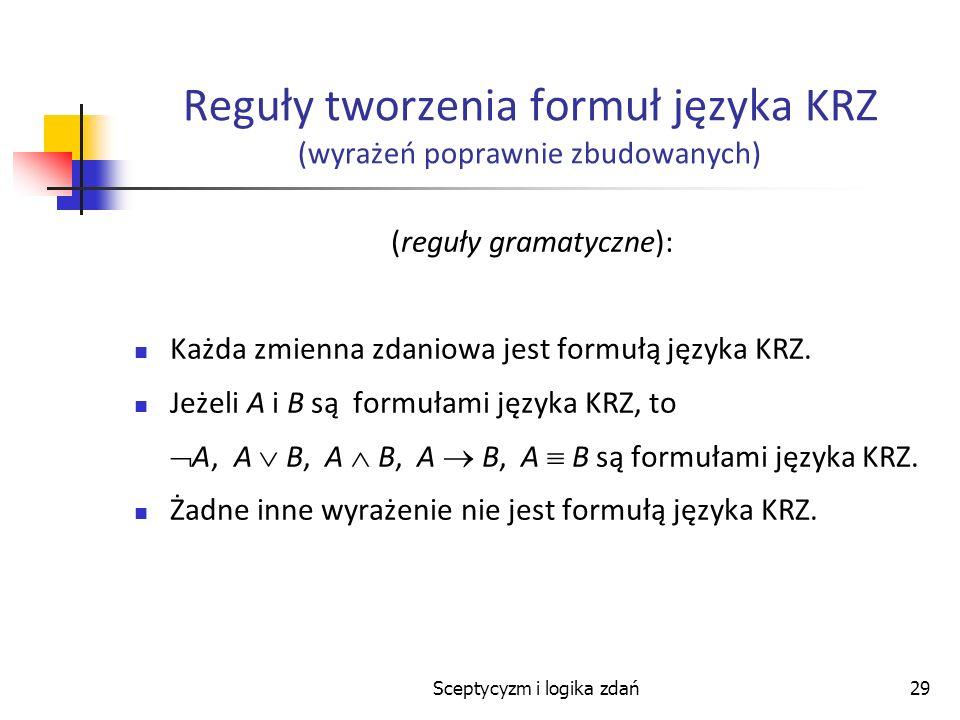 Reguły tworzenia formuł języka KRZ (wyrażeń poprawnie zbudowanych)