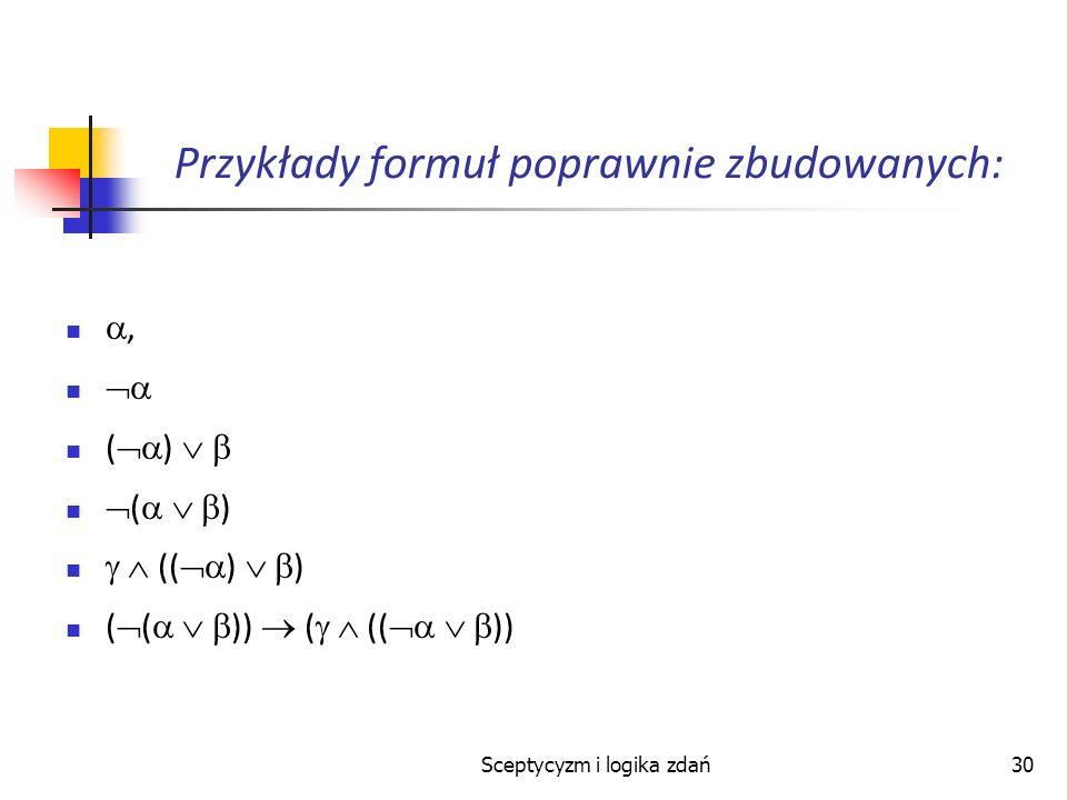 Przykłady formuł poprawnie zbudowanych:
