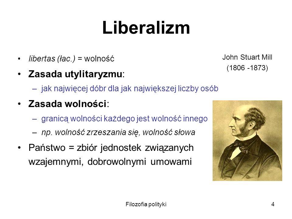 Liberalizm Zasada utylitaryzmu: Zasada wolności: