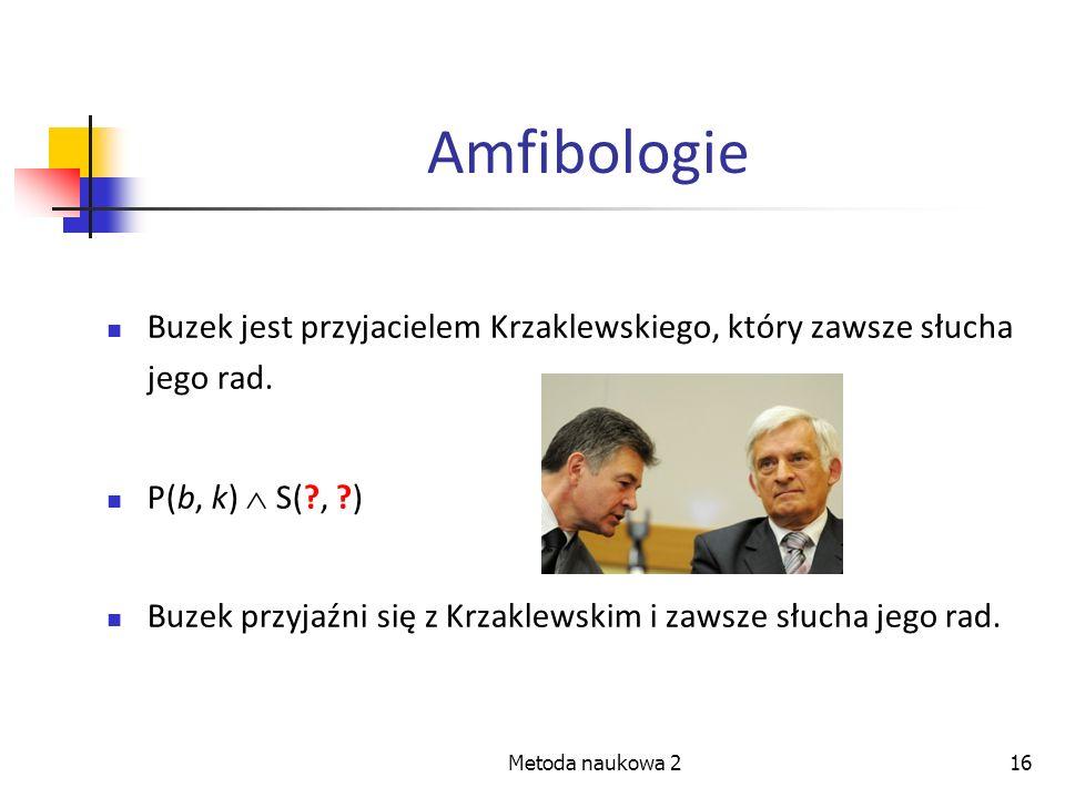 Amfibologie Buzek jest przyjacielem Krzaklewskiego, który zawsze słucha jego rad. P(b, k)  S( , )