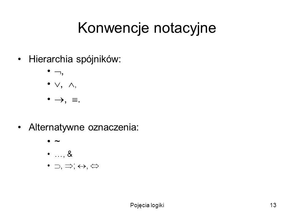 Konwencje notacyjne Hierarchia spójników: , , , , .