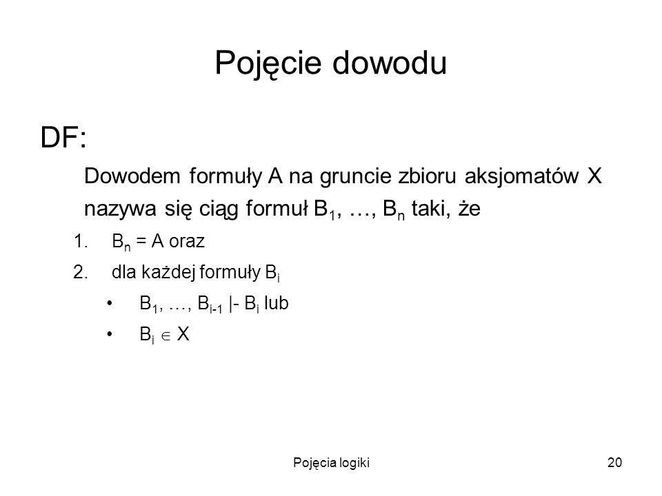 Pojęcie dowodu DF: Dowodem formuły A na gruncie zbioru aksjomatów X nazywa się ciąg formuł B1, …, Bn taki, że.