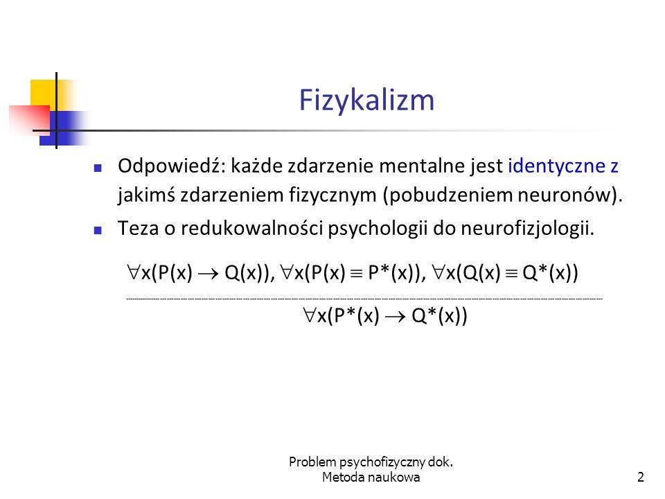 Problem psychofizyczny dok. Metoda naukowa
