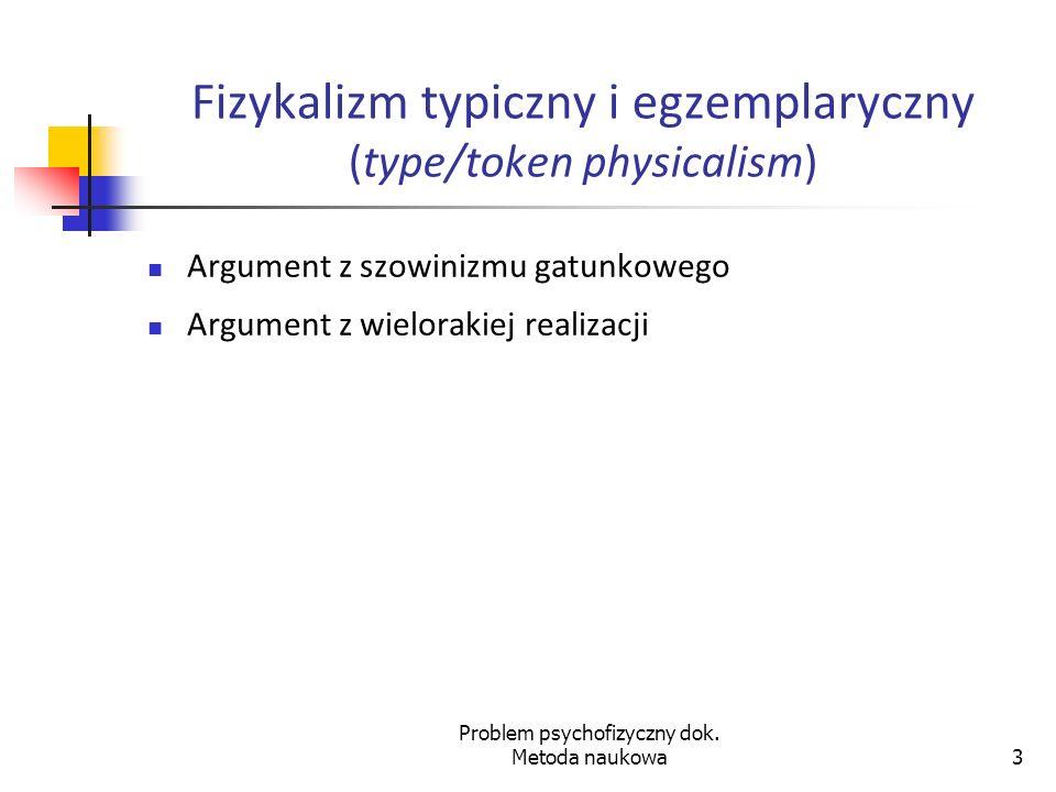 Fizykalizm typiczny i egzemplaryczny (type/token physicalism)