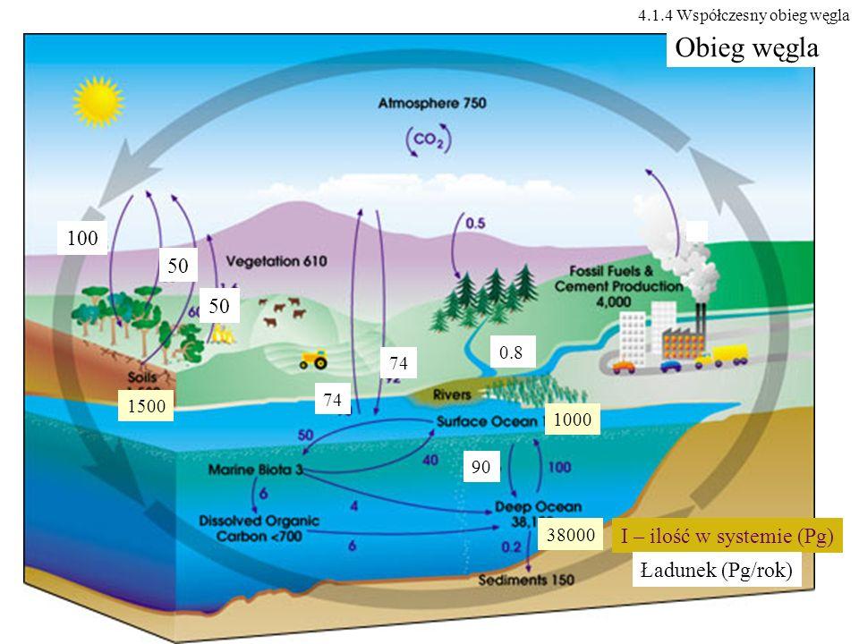 Obieg węgla 100 50 50 I – ilość w systemie (Pg) Ładunek (Pg/rok) 0.8