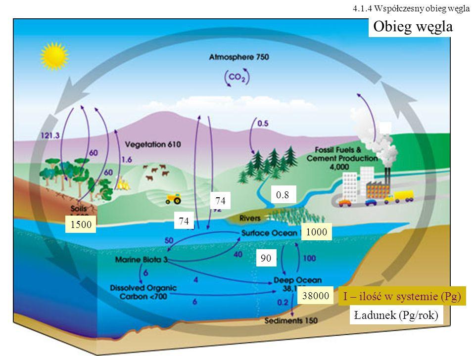 Obieg węgla I – ilość w systemie (Pg) Ładunek (Pg/rok) 0.8 74 74 1500