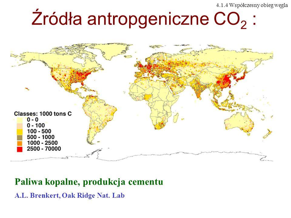 Źródła antropgeniczne CO2 :