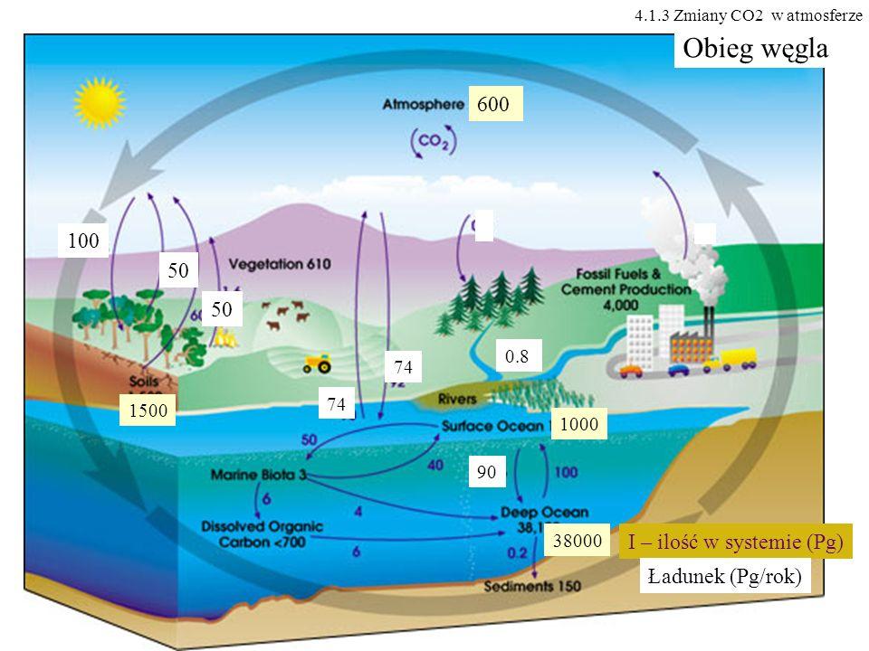 Obieg węgla 600 100 50 50 I – ilość w systemie (Pg) Ładunek (Pg/rok)