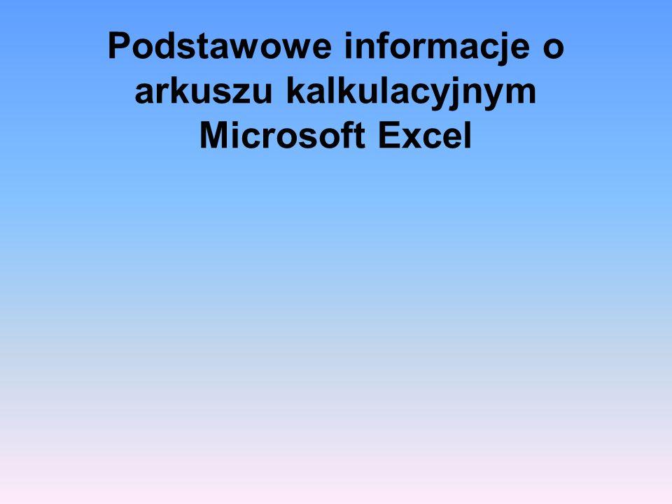 Podstawowe informacje o arkuszu kalkulacyjnym Microsoft Excel