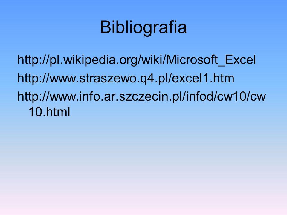 Bibliografia http://pl.wikipedia.org/wiki/Microsoft_Excel