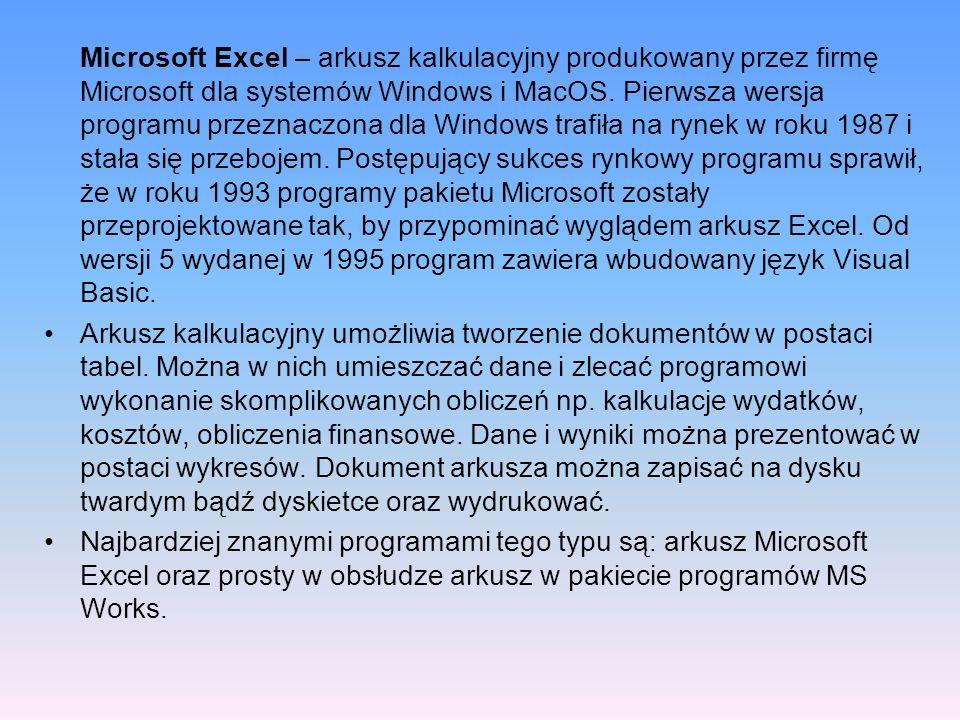 Microsoft Excel – arkusz kalkulacyjny produkowany przez firmę Microsoft dla systemów Windows i MacOS. Pierwsza wersja programu przeznaczona dla Windows trafiła na rynek w roku 1987 i stała się przebojem. Postępujący sukces rynkowy programu sprawił, że w roku 1993 programy pakietu Microsoft zostały przeprojektowane tak, by przypominać wyglądem arkusz Excel. Od wersji 5 wydanej w 1995 program zawiera wbudowany język Visual Basic.