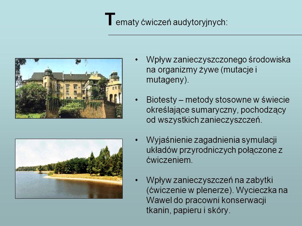 Tematy ćwiczeń audytoryjnych: