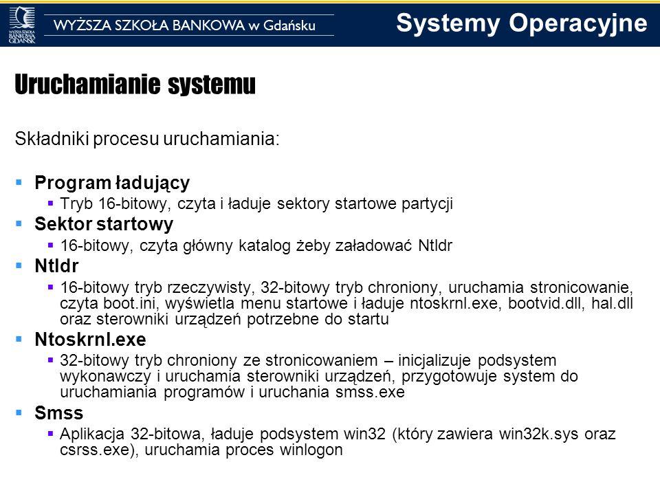 Uruchamianie systemu Składniki procesu uruchamiania: Program ładujący