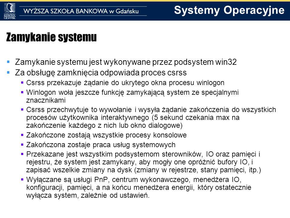 Zamykanie systemu Zamykanie systemu jest wykonywane przez podsystem win32. Za obsługę zamknięcia odpowiada proces csrss.