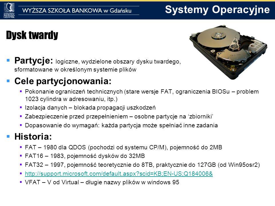 Dysk twardy Partycje: logiczne, wydzielone obszary dysku twardego, sformatowane w określonym systemie plików.