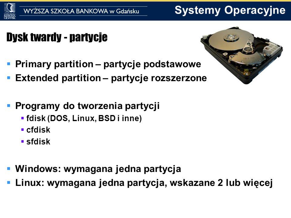 Dysk twardy - partycje Primary partition – partycje podstawowe